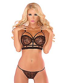 Floral Lace Cage Bra and G-String Panties Set