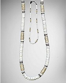 Gray White Rope Shell Necklace