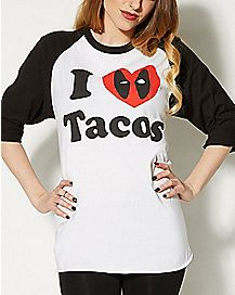 Deadpool I Love Tacos Raglan T Shirt - Marvel Comics