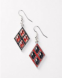 Diamond Bling Harley Quinn Dangle Earring