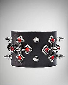 Red Cross Spike Leather Cuff