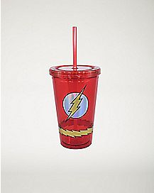Lightning The Flash DC Comics Cup With Straw 16 oz