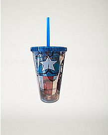 Body Suit Captain America Marvel Cup With Straw - 16 oz
