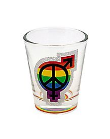 Glitter Transgender Symbol Shot Glass - 1.5 oz.