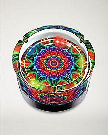 LED Spiral Tie Dye Ashtray -  Glass