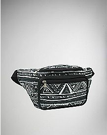 Black and White Tribal Print Fanny Pack