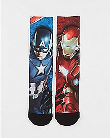 Captain America vs Ironman Crew Socks - Marvel Comics