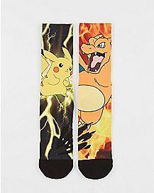 Sublimated Pikachu Vs Charizard Crew Socks