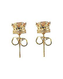 CZ Prong Crown Base Stud Earrings