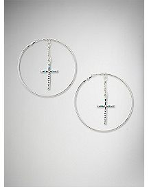 Cross Dangle Charm Hoop Earrings