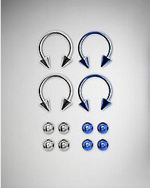 16 Gauge Colored Circular Barbell Nose Rings 4 Pack