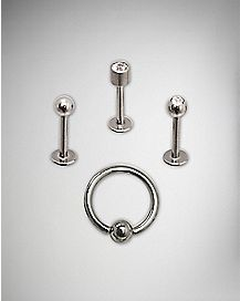 Stud and Captive Hoop Lip Ring 4 Pack - 16 Gauge