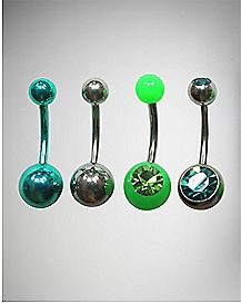 Green Cz Curved Barbell Belly Ring 4 Pack - 14 Gauge