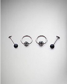 16 Gauge Cz Nose Ring 4 Pack