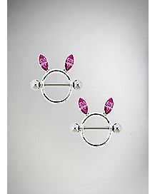 Pink Bunny Nipple Shields - 14 Gauge