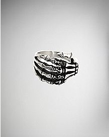 Steel Skeleton Hand Ring