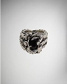 Steel with Black Gem Octopus Tentacle Ring