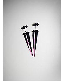 Black Pink Stripe Fake Tapers