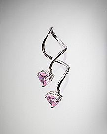 Pink Heart Cz Twist Belly Ring - 14 Gauge