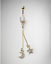 CZ Moon Star Chain Belly Ring - 14 Gauge