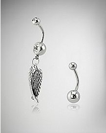 Clear Cz Wing Belly Ring 2 Pack - 14 Gauge