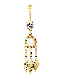 Opal-Effect Dream Catcher Dangle Belly Ring - 14 Gauge