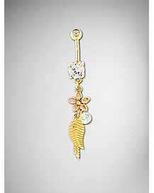 CZ Feather Flower Dangle Belly Ring - 14 Gauge