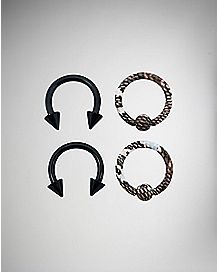 Colored Horsehoe/Captive Ring 4 Pack - 16 Gauge