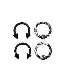Black Marble Horseshoe Captive Rings4 Pack - 14 Gauge