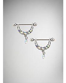 Gem Loop and Drop Nipple Ring - 14 Gauge