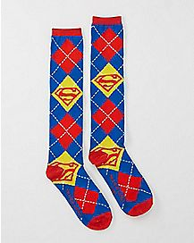 Knee High Argyle Superman DC Comics Socks