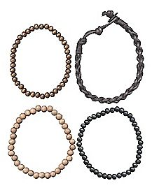 Wooden Beaded Braided Bracelet 4 Pack