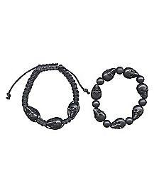 Black Skull Bead Bracelet 2 Pack
