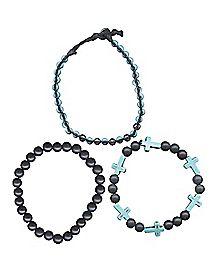 Black Turquoise-Effect Cross Bead Bracelet 3 Pack