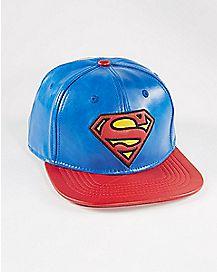 Faux Leather Superman Snapback Hat