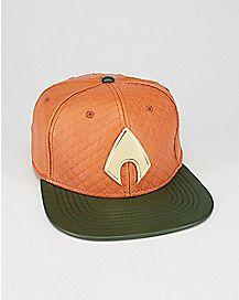 Faux Leather Aquaman Snapback Hat