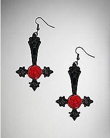 Black Upside Down Cross Rose Dangle Earrings
