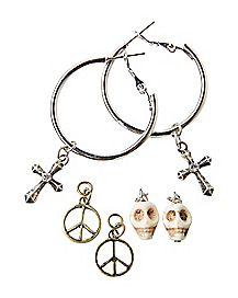 Skull Cross Peace Charm Hoop Earrings