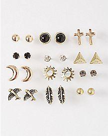 Feather Cross Moon Stud Earring 12 Pack