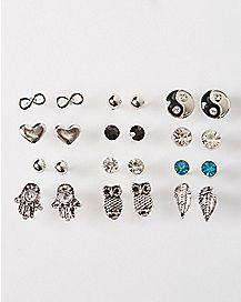 Yin Yang Hamsa Owl Stud Earring 12 Pack