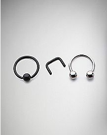 Horseshoe Captive Retainer Septum Nose Ring 3 Pack- 16 Gauge