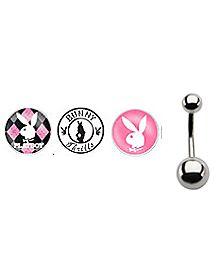 Playboy Bunny Logo Barbell Belly Ring 3 Pack - 14 Gauge
