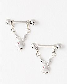 Playboy Bunny Dangle Nipple Rings - 14 Gauge