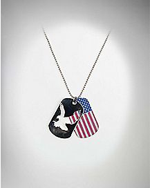 American Flag Eagle Dog Tag Necklace