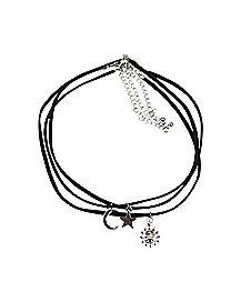 Sun Moon Star Cord Choker Necklace 3 Pack