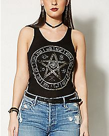 Fishnet Back Pentagram Tank Top
