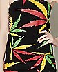 Lace Up Back Rasta Pot Leaf Tube Top