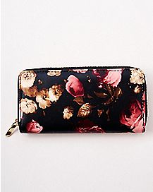 Rose Print Zip Wallet