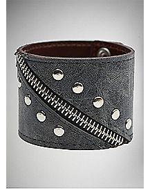 Black Zipper Stud Wrist Cuff