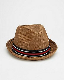 Brown Stripe Fedora Hat